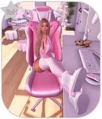 ♫ Lazy Rabbit ♫ (Owner of [B]odylicious-SL) Tags: lazy rabbit socks shoes long hair chair pink stripes bunny ears pc room girl girly sexy hot cute kawaii rosa blog bloggerin ruby von hinten female ava avatar sl secondlife