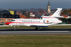 AME_F900_4541_T18-2_BRU_DEC2019 (Yannick VP) Tags: military governmental vip vvip dignitary passenger pax transport aircraft airplane aeroplane jet jetliner trijet bizjet businessjet govjet fuerzaaereaespanole ejercitodelaire kingdomofspain spain airforce 451sqn dassault falcon f900 f900b 4541 t182 ame ame4580 airmil approach landing touchdown runway rwy 25l aviation photography planespotting airplanespotting brussels airport bru ebbr belgium be europe eu december 2019