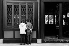 Curiosity (Go-tea 郭天) Tags: chongqing républiquepopulairedechine door 2 man geometric window lines out couple geometry shapes indoor inside in old family woman love lady observation back alone pair husband together wife lonely backside observing building history look glasses construction ancient looking traditional cable historic historical through tradition pocket headphone street city people urban bw white black outside blackwhite outdoor candid curious curiosity bnw opened china light blackandwhite monochrome canon asian eos prime asia natural chinese naturallight 24mm 100d
