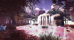 Fae Three Moon Lake of Swans (Raging Bellls) Tags: swan lake forest water garden planets moon snow crystals waterfall statues secondlife