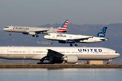 Parallel landings | San Francisco International (Dennis HKG) Tags: aircraft airplane airport plane planespotting canon 7d 100400 sanfrancisco ksfo sfo american americanairlines aal aa usa jetblueairways jetblue jbu b6 united unitedairlines ual ua airbus a320 airbusa320 a321 airbusa321 boeing 777 777300 boeing777 boeing777300 777300er boeing777300er n2136u