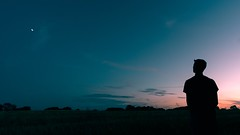 Alone (loonback) Tags: boy evening sunset shadow star dark nature alone