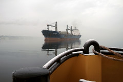 'Lake Erie' Coming Out of the Mist (Paul Wash) Tags: ship oceangoing vessel lakeerie steel cargo mist docking