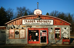 Trader Brothers - Twin Lakes, Wisconsin (Cragin Spring) Tags: midwest unitedstates usa unitedstatesofamerica railroadcrossing sign traderbrothers store collectibles bike bicycle resale fish wi wisconsin twinlakes twinlakeswi twinlakeswisconsin
