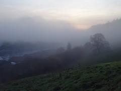 Breaking through (Phil Gayton) Tags: field tree building cloud water mist sunrise sun baltic wharf boatyard home reach river dart totnes devon uk