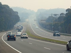 Bushfire drifted smoke over Princes Motorway - Waterfall NSW 5th Dec 2019 (7) (nicephotog) Tags: bushfire smoke haze pollution hazard visibility waterfall nsw fire australia motorway road highway weather