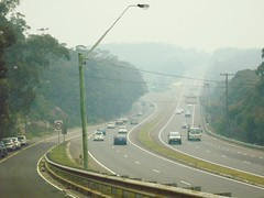 Bushfire drifted smoke over Princes Motorway - Waterfall NSW 5th Dec 2019 (3) (nicephotog) Tags: bushfire smoke haze pollution hazard visibility waterfall nsw fire australia motorway road highway weather