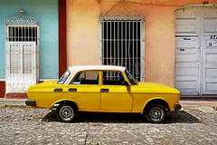 Mean Mr Mustard (emerge13) Tags: classiccars sovietcars moskvitch yellow cuba architecture colonial colonialarchitecture yellowcars cobblestonestreets trinidadsanctispirituscuba trinidadcuba 1986moskvitch2140