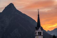 Sunrise over the clock tower (modesrodriguez) Tags: eslovenia europe slovenia travel clock tower sunrise landscape mountain paisaje reloj torre iglesia