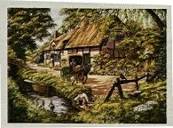 """FALCON F ? 500 19.3X13.8 CM ART 10733 (cottage, cart, man, stream ducks) C2005 (Andrew Reynolds transport view) Tags: jigsaw """"jigsaw puzzle"""" picture pieces large difficult falcon hobby leisure pasttime f500193x138cmart10733cottage cart man streamducksc2005"""