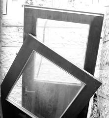 Doors in the Garbage B&W (zeevveez) Tags: zeevveez zeevbarkan canon bw זאבברקן geometry square garbage door