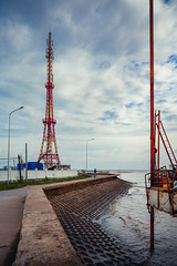 Lines and poles (Cadicxv8) Tags: sea sky water cloud travel vietnam shore beach tower poles iron structure construction lines