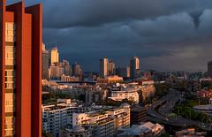 Abendlicht Sydney (inmyeyespictures) Tags: sydney sonnenuntergang sunset skyline hochhäuser wolkenkratzer architektur architecture panorama wolken clouds gfx50s gf110f2