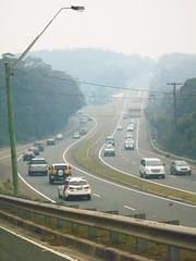 Bushfire drifted smoke over Princes Motorway - Waterfall NSW 5th Dec 2019 (4) (attr-shr)) (nicephotog) Tags: bushfire smoke haze pollution hazard visibility waterfall nsw fire australia motorway road highway weather