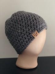 Messy Bun Hat (LoveLifeGifts) Tags: gray crochet messy bun beanie hat ski snowboard black ponytail pony tail womens womans hair dont care