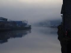 Curtain raiser on the day (Phil Gayton) Tags: water building reflection lifebuoy tree mist cloud morning river dart totnes devon uk