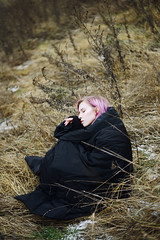 DSC_0163 (primeridian) Tags: people person woman girl art fashion shoot photo winter autumn pink hair outdoors nature field black cold