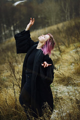 DSC_0036 (primeridian) Tags: people person woman girl art fashion shoot photo winter autumn pink hair outdoors nature field black cold
