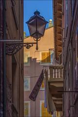 looking up! (miriam ulivi - OFF/ON) Tags: miriamulivi nikond7200 italia liguria sestrilevante caruggio case houses cielo skyblue vento wind finestre windows colors