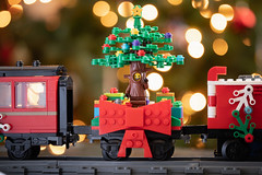 Christmas Tree Guy (fourbrickstall) Tags: christmas lego minifigure minifig holiday train tree