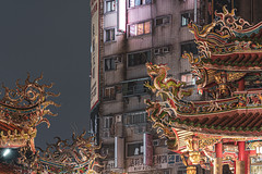 Contrast, Old vs. New (Cyclase) Tags: taiwan asian taipei taipeh temple tempel dragon art city outside night