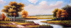 The Horizon of Autumn, Art Painting / Oil Painting For Sale - Arteet™ (arteetgallery) Tags: arteet oil paintings canvas art artwork fine arts landscape sky clouds tree scenery summer water grass sun horizon cloud river scenic sunny season lake environment meadow countryside trees park spring tourism natural rural outdoors scene reflection light day country yellow hill landscapes pastorals lakes rivers orange green paint