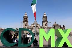 Mexico City CDMX (Prayitno / Thank you for (12 millions +) view) Tags: cdmx ciudad mexico distrito federal district city cathedral flag public sign zocalo plaza historic historico day time outdoor sunny blue sky