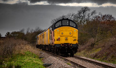 Colas Railfreight Class 37/0 No 37254 at High Marnham on 05/12/2019 with a test train from Derby (kevaruka) Tags: networkrail britishrail englishelectric class37 colour colours color colors colas colasrailfreight testtrain highmarnhamtesttrack highmarnham tractor 37057 37254 winter 2019 05122019 kevinfrost trains train railway outdoor outdoors cold december flickr frontpage telephototrains telephoto composition locomotive heritage historic countryside nottinghamshire canon canoneos5dmk3 canon5dmk3 canon70200f28ismk2 5d3 5diii 5d 5dmk3 trees sky clouds cloudy cloud cloudyday dull dreary yellow green orange uk england