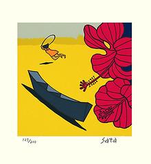 Chinese hibiscus (Japanese Flower and Bird Art) Tags: flower chinese hibiscus rosasinensis malvaceae katsu sata modern screenprint print japan japanese art readercollection