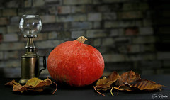 Pumpkin with lamp (litang13) Tags: potimarron pumpkin orange feuilles automne lampe canon eos lamp stilllife supershot soe