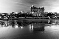 The Grand Hotel (Derwisz) Tags: grandhotel scarborough reflections mirror beach shore blackwhite blackandwhite monochrome canoneos40d england englandseastcoast yorkshire nothyorkshire