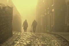CobbledLane (Tony Tooth) Tags: nikon d600 nikkor 105mm sepia monochrome figures people fog cobbles cobbled cobbledstreet leek staffs staffordshire december bw blackandwhite