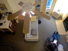 From the Loft in Suite 622 (ricko) Tags: hotelroom 622 ceilingfan furniture loft kath lookingdown sonestaessuites chesterfield missouri