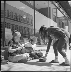Tipping the Street Performers (summit-photo) Tags: hasselblad 500cm 6x6 zeiss planar 80mm film bnw bw blackandwhite monochrome ilford hp5 asheville streetphotography