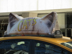 2019 CATS Movie Musical Ad on top of Taxi Cab 1338 (Brechtbug) Tags: 2019 cats scalp riding top taxi cab movie musical broadway billboard kinda look like mutants new york city 12052019 nyc action andrew lloyd webber 80s winter garden theater show portrait poster standee theaters 7th ave 41st street above times square