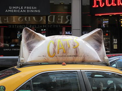 2019 CATS Movie Musical Ad on top of Taxi Cab 1322 (Brechtbug) Tags: 2019 cats scalp riding top taxi cab movie musical broadway billboard kinda look like mutants new york city 12052019 nyc action andrew lloyd webber 80s winter garden theater show portrait poster standee theaters 7th ave 41st street above times square