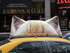 2019 CATS Movie Musical Ad on top of Taxi Cab 1321 (Brechtbug) Tags: 2019 cats scalp riding top taxi cab movie musical broadway billboard kinda look like mutants new york city 12052019 nyc action andrew lloyd webber 80s winter garden theater show portrait poster standee theaters 7th ave 41st street above times square