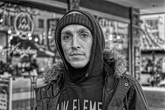LIVING ON THE STREET (NorbertPeter) Tags: man street people outdoor portrait spontaneous city urban düsseldorf germany homeless poverty sony ilce7 streetphotography streetportrait monochrome blackandwhite bw