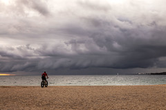 Riding into the storm (Jo Evans1 - off and on for a while) Tags: storm cylist stormclouds playa blanca lanzarote beach sea ridersonthestorm thedoors