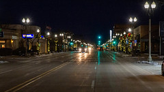 Washington Street at Night (Lester Public Library) Tags: tworivers tworiverswisconsin wisconsin downtowntworivers downtown street pavement streets streetlights holidaylights night lesterpubliclibrarytworiverswisconsin wisconsinlibraries readdiscoverconnectenrich