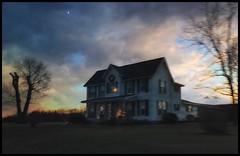 Lighting the hills.... (Sherrianne100) Tags: sunset moon evening christmaslights lights rural farmhouse ozarks missouri