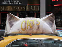 2019 CATS Movie Musical Ad on top of Taxi Cab 1327 (Brechtbug) Tags: 2019 cats scalp riding top taxi cab movie musical broadway billboard kinda look like mutants new york city 12052019 nyc action andrew lloyd webber 80s winter garden theater show portrait poster standee theaters 7th ave 41st street above times square