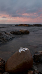 Ice on the rocks (Mika Lehtinen) Tags: winter december sea water cold sky ice finland nightsky lowlight nordicwinter