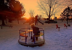 the fun must also be in freezing weather (majka44) Tags: child fun sunset sky light 2019 slovakia playground people winter snow tree playtime atmosphere mood mylove