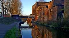 T & M Canal, Middleport (philept1) Tags: water winter reflection trentmersey outdoors potteries staffordshire stoke footbridge canal view bridge middleport sunset