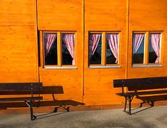 no one here? (Rosmarie Voegtli) Tags: bergrestaurantmeltingerberg jura hiking restaurant curtains sun benches swissness switzerland suisse svizzera schweiz