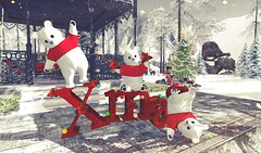 Happy Bears for Christmas (Rose Sternberg) Tags: second life deco decor home garden interior outdoor landscape 2019 tm creation white winter scene christmas xmas cute teddy bears c14 word with poinsettias lights effectssl expo the relay for