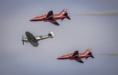Silver Spitfire with the Red Arrows (Christian Lawrence Photography) Tags: silver spitfire boultbee world round record breaker aviation longest flight red arrows