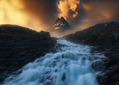 In Flames (carltloveall) Tags: norway waterfall sunset no man reindeer dramatic sky