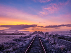 Cycle ride 1 (strangesimon) Tags: track train sunrise morning sky outside rural